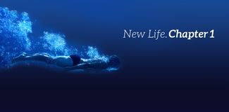 Composite image of new life chapter one message on a white background. New life chapter one message on a white background  against man swimming in blue water Stock Image