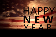 Composite image of new year graphic. New year graphic against composite image of digitally generated american flag rippling stock photography