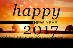 Composite image of new year graphic. New year graphic against panoramic view of american flag Stock Photography