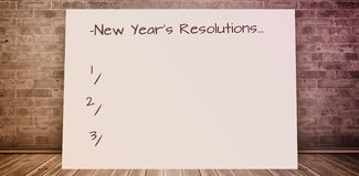 Composite image of new years resolution. New Years Resolution against composite image of white card stock image
