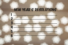 Composite image of new years resolution list. And light ornament vector illustration