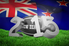 Composite image of new zealand rugby 2015 message. New zealand rugby 2015 message  against new zealand flag against white background Royalty Free Stock Image