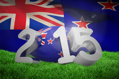 Composite image of new zealand rugby 2015 message. New zealand rugby 2015 message  against new zealand flag against white background Stock Photo
