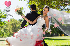 Composite image of newlywed couple sitting on scooter in park Stock Photos