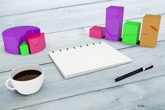 Composite image of notepad with graphs Royalty Free Stock Image