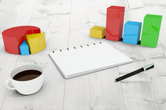Composite image of notepad with graphs Royalty Free Stock Photo