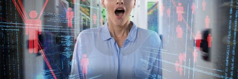 Composite Image Of Business Woman Surprised Stock Photography