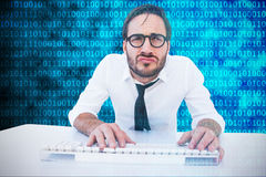 Free Composite Image Of Business Worker With Reading Glasses On Computer Stock Photo - 66225740
