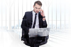 Free Composite Image Of Businessman Using Laptop While Phoning Stock Photo - 54244010