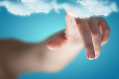 Composite Image Of Cropped Image Of Woman Hand Pointing Royalty Free Stock Photo