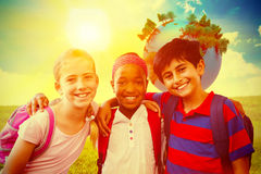 Free Composite Image Of Little School Kids In School Corridor Stock Photography - 58156092