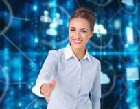 Free Composite Image Of Smiling Businesswoman Offering Handshake Stock Photo - 89703810