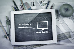 Composite image of old school vs new school. Old school vs new school against blue chalkboard royalty free stock images