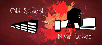 Composite image of old school vs new school Royalty Free Stock Images