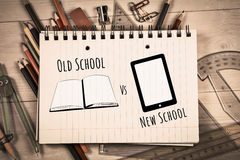 Composite image of old school vs new school. Old school vs new school against students table with school supplies royalty free stock photo