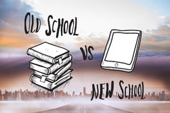 Composite image of old school vs new school doodle Royalty Free Stock Images