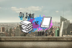 Composite image of old school vs new school on paint splashes. Old school vs new school on paint splashes against balcony overlooking city royalty free stock photos