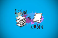 Composite image of old school vs new school on paint splashes Royalty Free Stock Images