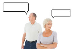Composite image of older couple having an argument Stock Photo