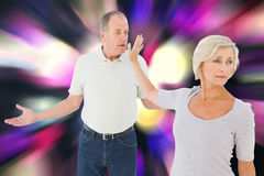 Composite image of older couple having an argument Royalty Free Stock Photo