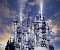 Composite image of an ominous industrial complex stock photos