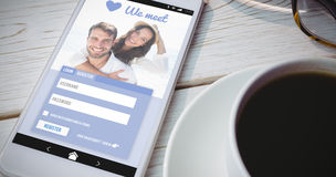 Composite image of online dating app stock photography