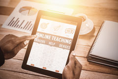 Composite image of online teaching poster. Online Teaching Poster against close up of businessman using digital tablet Royalty Free Stock Images