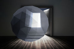 Composite image of open door on abstract screen Royalty Free Stock Image