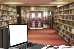 Composite image of open laptop Stock Images