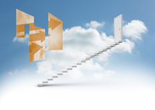Composite image of orange arrows on abstract screen Stock Image