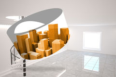 Composite image of orange cityscape on abstract screen Royalty Free Stock Photos
