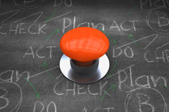 Composite image of orange push button Royalty Free Stock Image