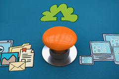 Composite image of orange push button Stock Photography