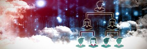 Composite image of organisation. Organisation against clouds over binary coded screen stock illustration