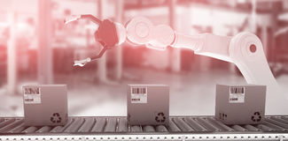 Composite image of packed courier on conveyor belt vector illustration