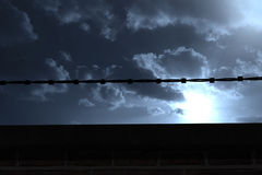 Composite image of panoramic illustration of barbed wire Royalty Free Stock Photos