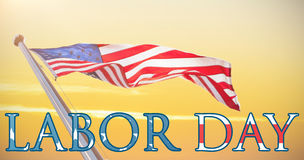 Composite image of panoramic shot of labor day text Stock Image
