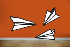 Composite image of paper airplanes doodle Royalty Free Stock Photos