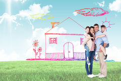 Composite image of parents giving piggyback ride to children over white background. Parents giving piggyback ride to children over white background against blue Royalty Free Stock Photography