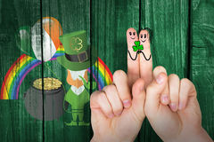 Composite image of patricks day fingers Royalty Free Stock Image