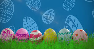 Composite image of patterned easter eggs arranged side by side Royalty Free Stock Images
