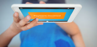 Composite image of payment declined text on phone display Royalty Free Stock Image