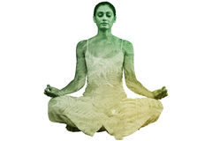 Composite image of peaceful woman in white sitting in lotus pose Royalty Free Stock Photos
