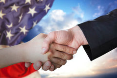 Composite image of people doing handshake Royalty Free Stock Photos