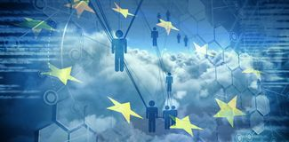 Composite image of people icons and binary codes. People icons and binary codes against digitally generated image of european union flag and clouds Stock Photos