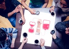 Composite image of people sitting around table drinking coffee Royalty Free Stock Image