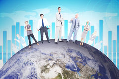 Composite image of people standing on earth Stock Photo