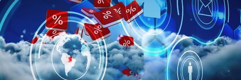 Composite image of percent sign  icon. Percent sign  icon against scenic view of white cloud against sky Stock Images