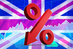 Composite image of percentage arrow. Percentage arrow against stocks and shares Royalty Free Stock Photos