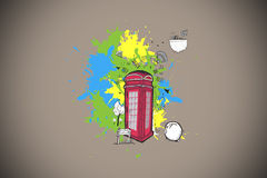 Composite image of phone box with apps on paint splashes Royalty Free Stock Photo